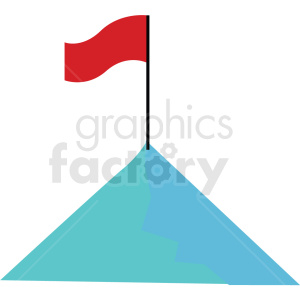 mountain with flag vector clipart icon