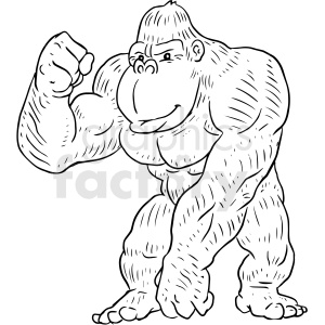gorilla black and white tattoo vector design clipart. Commercial use image # 412982