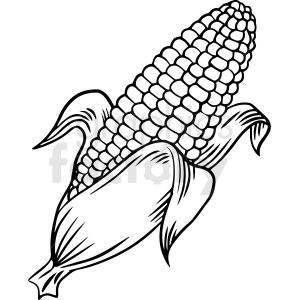 black and white corn vector clipart clipart. Commercial use image # 412991