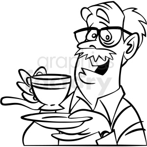 black and white man having tea vector clipart clipart. Commercial use image # 413095