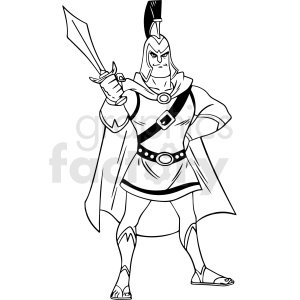 black and white cartoon trojan warrior vector clipart clipart. Royalty-free image # 413134