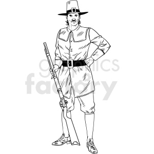 black and white realistic male pilgrim holding gun vector clipart clipart. Commercial use image # 413144