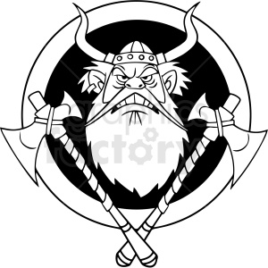 black and white cartoon viking axes vector clipart clipart. Commercial use image # 413149