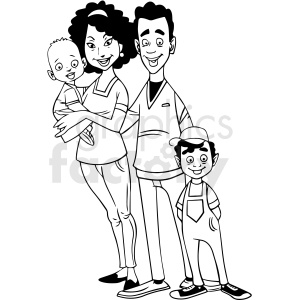 black and white african american family cartoon vector clipart