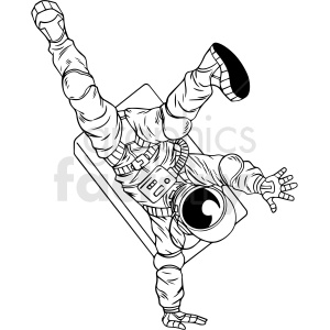 black and white astronaut break dancing vector clipart clipart. Royalty-free image # 413174
