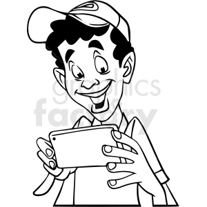 black and white african american boy laughing at his phone vector clipart clipart. Commercial use image # 413184