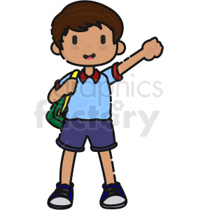 cartoon boy holding arm up vector clipart clipart. Commercial use image # 413272