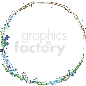 skinny flower frame vector clipart clipart. Commercial use image # 413277