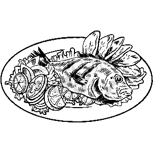 black and white fish dinner vector clipart clipart. Commercial use image # 413297