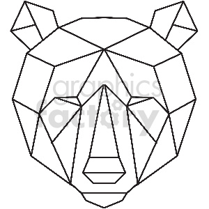 black and white bear head geometic shape vector clipart clipart. Commercial use image # 413375
