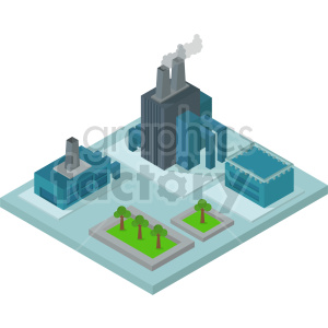 isometric industrial block with factories vector clipart