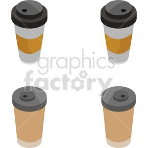 isometric coffee cup vector icon clipart 1