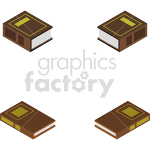 isometric law books vector icon clipart 1