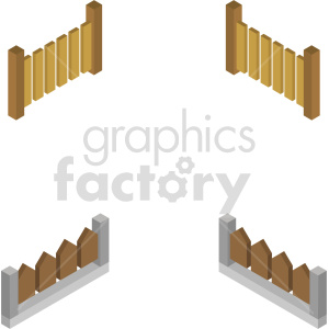 isometric fence vector icon clipart 6
