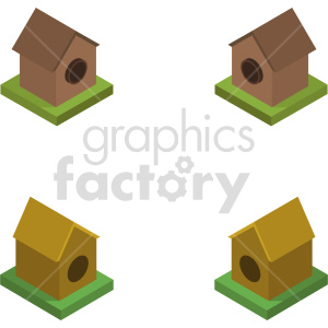 isometric bird house vector icon clipart 2 clipart. Commercial use image # 414005