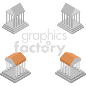 isometric greek temple vector icon clipart 1 clipart. Royalty-free image # 414009