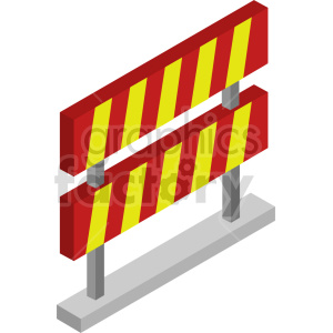 isometric road barricade vector icon clipart