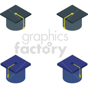 isometric graduation cap vector icon clipart bundle clipart. Commercial use image # 414336
