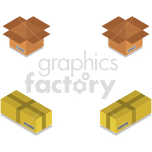 isometric boxes vector icon clipart 3