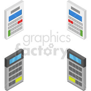 isometric calculator vector icon clipart bundle clipart. Commercial use image # 414393