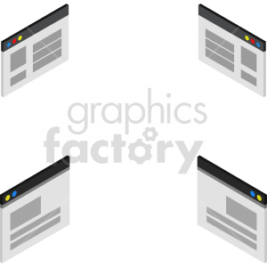 isometric browser window vector icon clipart bundle clipart. Commercial use image # 414521