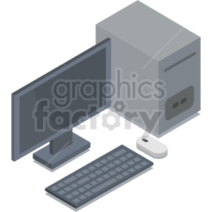 isometric computer vector icon clipart