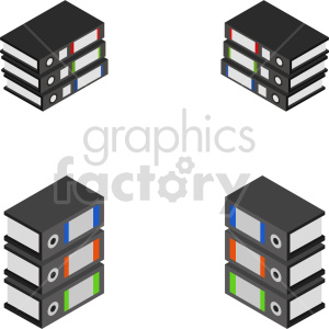 clipart - isometric data floppy disk books vector icon clipart 3.