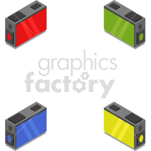 isometric ink cartridge vector icon clipart set clipart. Commercial use image # 414566