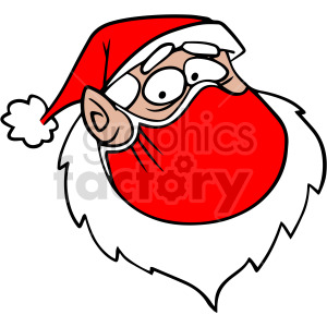 cartoon Santa head wearing mask vector clipart