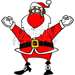 Christmas black Santa wearing mask vector clipart