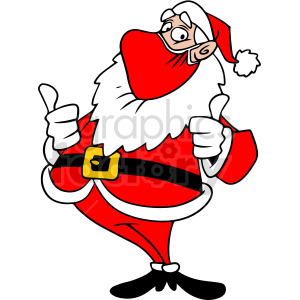 Santa wearing mask holding thumbs up vector clipart clipart. Commercial use image # 414691