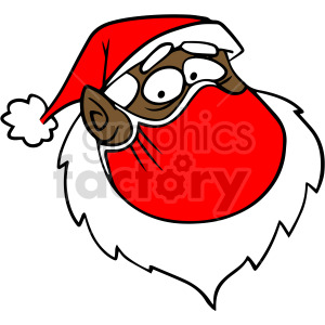 cartoon black Santa head wearing mask vector clipart clipart. Commercial use image # 414699