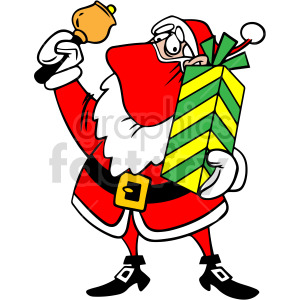 Santa wearing mask holding bell vector clipart