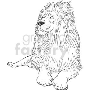 lion black and white clipart clipart. Commercial use image # 414752