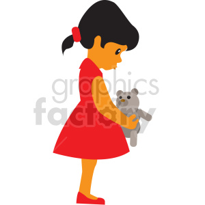 cartoon girl holding teddy bear vector clipart clipart. Commercial use image # 414861