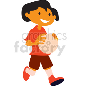 cartoon kid holding ball vector clipart clipart. Commercial use image # 414862