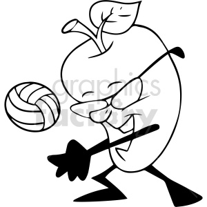 fruit playing volleyball black and white vector clipart clipart. Commercial use image # 414938