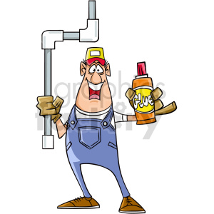 cartoon plumber using glue clipart clipart. Commercial use image # 415023