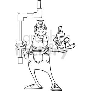 plumber holding glue black and white clipart clipart. Commercial use image # 415033