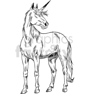 realistic unicorn black and white clipart clipart. Commercial use image # 415052