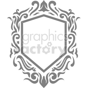 gray shield frame design vector clipart clipart. Commercial use image # 415062