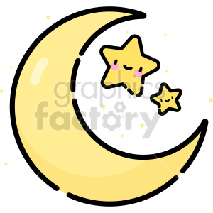 cartoon moon with stars clip art clipart. Commercial use image # 415121
