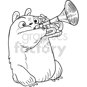 hamster playing trumpet vector graphic clipart. Commercial use image # 415134