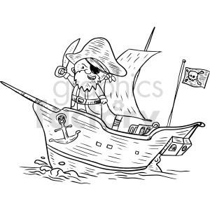 pirate ship black+white tattoo captain