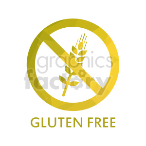 clipart - yellow gluten free text vector graphic.