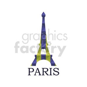 clipart - Eiffel Tower Paris France purple yellow vector.