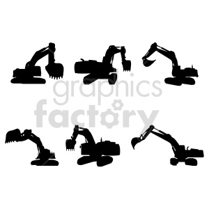 excavator silhouette bundle vector graphic clipart. Commercial use image # 416009