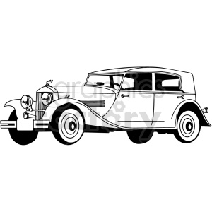 black and white old car vector clipart