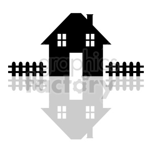house with picket fence vector graphic clipart. Commercial use image # 416499