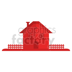 red house with picket fence vector clipart clipart. Commercial use image # 416511